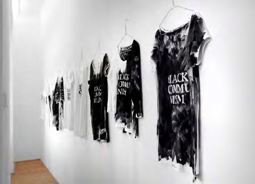 Black Communism, 9 shirts, hand painted slogan. 2012