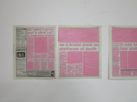 Daily News Agency 2004 Detail 5 newspaper pages, painted over with purple acrylic paint, each page 28x43 cm.