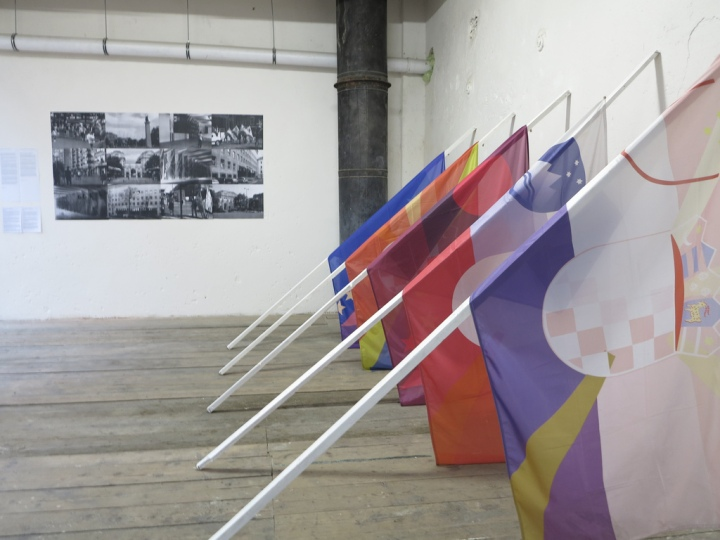 Advanced Science of Morphology 2013 5 flags, 5 flag pools, 200x150x300 cm; 12 documentary photographs, black and white, each 50x70cm.