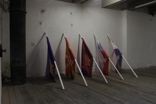 Advanced Science of Morphology 2013 5 flags, 5 flag pools, 200x150x300 cm.