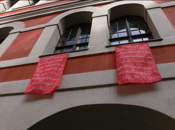 9 flags displayed in on the windows of Center for Minorities, Graz.