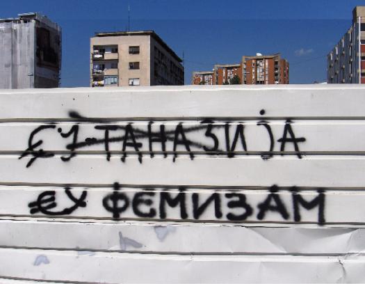 Original graffitti EU-TANESIA *1 changed to eu-phemism *2 Skopje, Macedonia